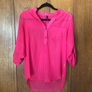 Maurices Pink Sheer Long Sleeve Blouse